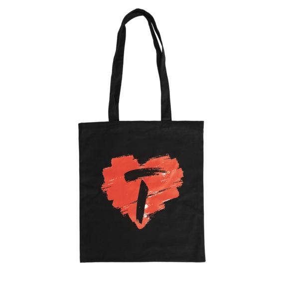 HEART fekete vászon táska